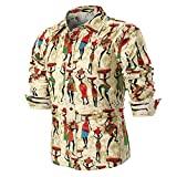 Men Shirt Casual Linen Africa Print Novelty Button Down Shirts Blouse Zulmaliu(M-4XL) (4XL, Khaki)