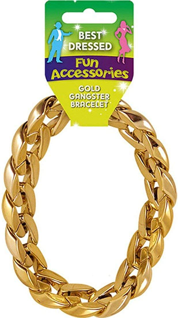 Chunky Gold Gangster Pimp Bracelet Men/'s Fancy Dress Jewellery