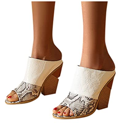 Xinantime Womens Sandal Snake Print Open Toe High Heel Beach Shoes Large Size Sandals Slippers: Clothing