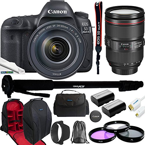 Canon EOS 5D Mark IV Full Frame Digital SLR Camera with EF 24-105mm f/4L IS II USM Lens Kit + 2X High Capacity LP-E6 Replacement Batteries + I3e-Pro Camera Gadget Bag + Expo Accessories Bundle by Deal-Expo