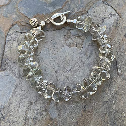 Green Amethyst Nugget Bracelet, Hill Tribe Silver, 7.5 inch