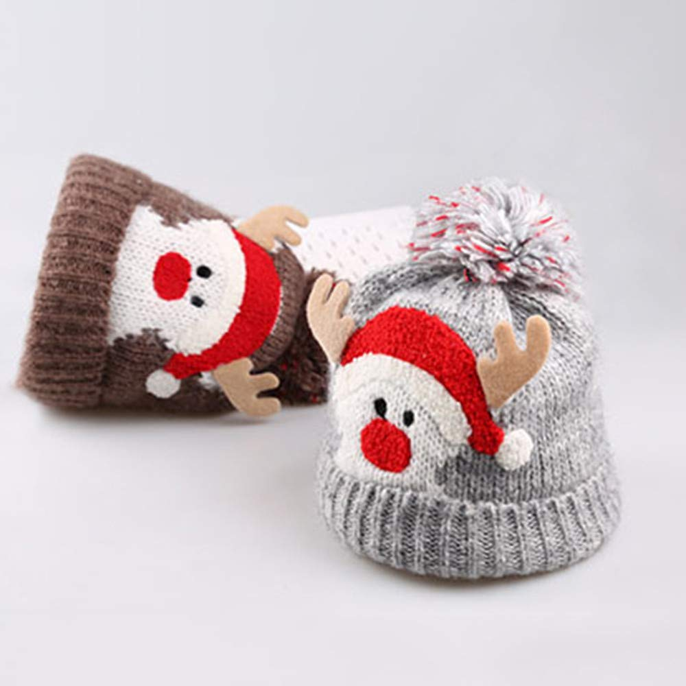 Baby Christmas Thanksgiving Beanie Knitted Cap Warm Toddler Santa Deer Elk Knit Hat for Fall