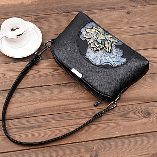 Shopping Messenger Party Small Bag Bag Soft Shoulder C Print Retro Pu Bag Bag Flower Zxcb Leather 1XOaP