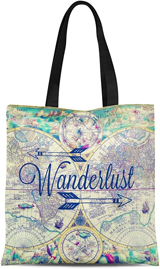Abstract White Line Flower Canvas Tote Bag,Fashion Large Capacity Handbag for Women Travel