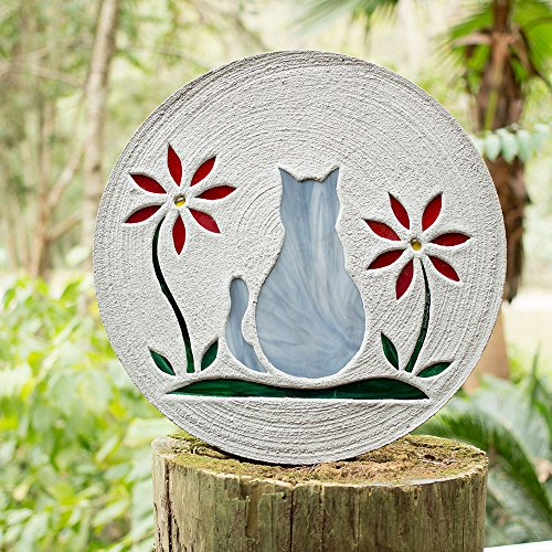 Gray Kitty Cat Stained Glass Stepping Stone #5