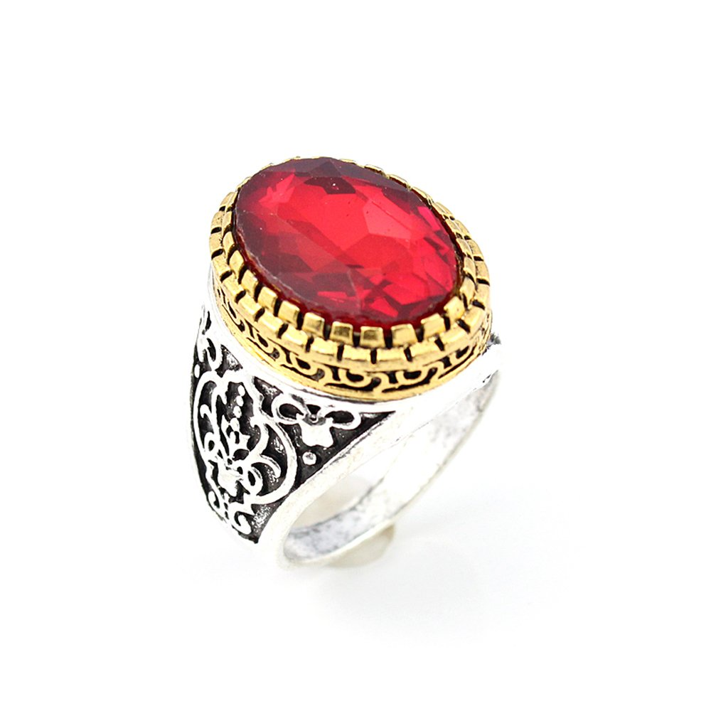 BEST QUALITY GARNET FASHION JEWELRY SILVER PLATED AND BRASS RING 10 S22886