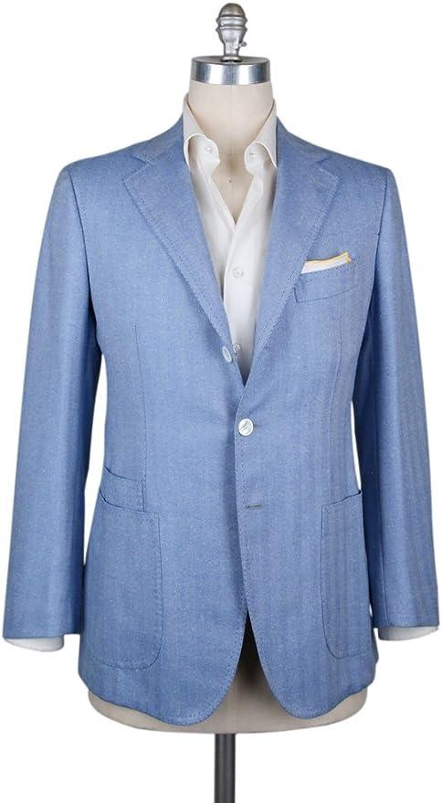 Cesare Attolini Tie in Light Blue with Dark Blue Checkered