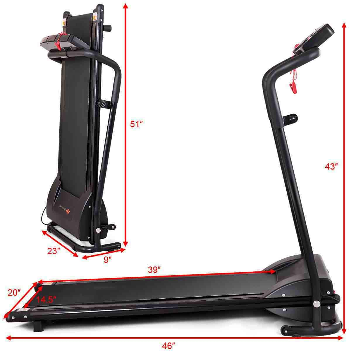 GYMAX Folding Electric Portable Treadmill Low Noise Jogging Walking Running Machine Exercise Treadmill w/Safety Key by GYMAX (Image #7)
