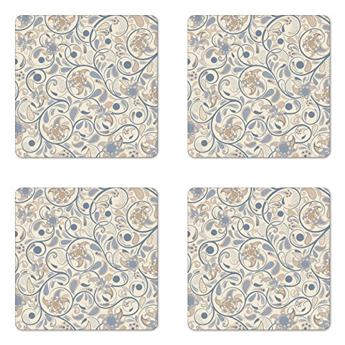 (Ambesonne Vintage Coaster Set of Four, Oriental Scroll with Swirling Leaves with Eastern Design Inspirations, Square Hardboard Gloss Coasters for Drinks, Beige Tan Slate Blue)