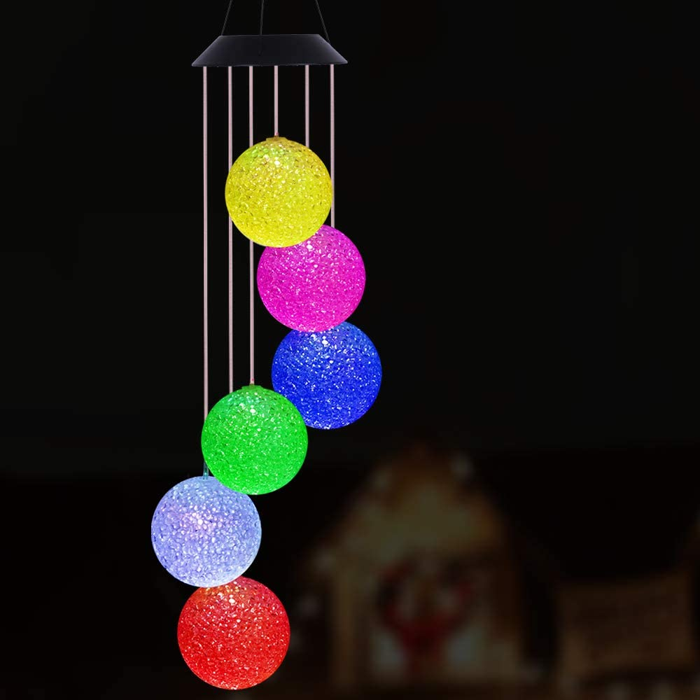Solar Crystal Ball Wind Chimes Outdoor - Waterproof Solar Mobile Changing Light Color Windchime Decor, Crystal Balls Wind-Bell for Home, Xmas Mom Gifts, Party, Festival Decor, Night Garden Decoration
