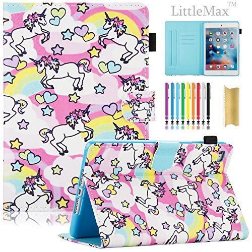 iPad Mini Case, LittleMax(TM) Ultra Slim PU Leather Lightweight Case Flip Folio Stand Smart Cover with Auto Wake / Sleep Feature for Apple iPad Mini 1 / Mini 2 / Mini 3 / Mini 4-02 Rainbow Unicorn
