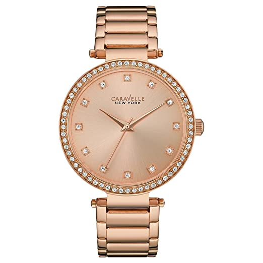 76d162e9a Caravelle New York 44L208 Ladies Rose Gold Steel Bracelet Watch:  Amazon.co.uk: Watches
