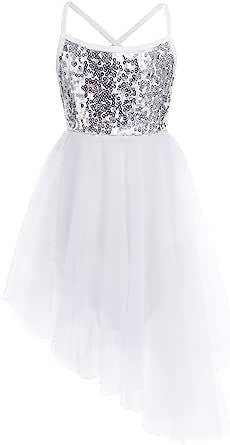 TiaoBug Girls Sequins Sleeveless High-Low Ballet Dance Dress Ballerina Fairy Costume Gymnastics Leotard
