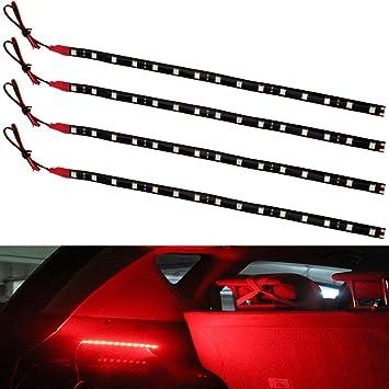 4X Red 30CM//15 LED Car Boat Motor Bike Decor Flexible Light Strip Waterproof 12V