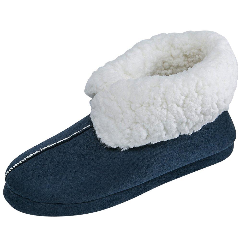 JACKSHIBO Men Comfortable House Slippers Slip-On Indoor Slipper Boots