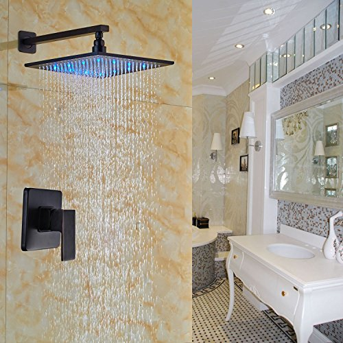 Rozin Wall Mount LED Changing Color 12-inch Rainfall Shower Head Single Handle Mixer Control Oil Rubbed Bronze