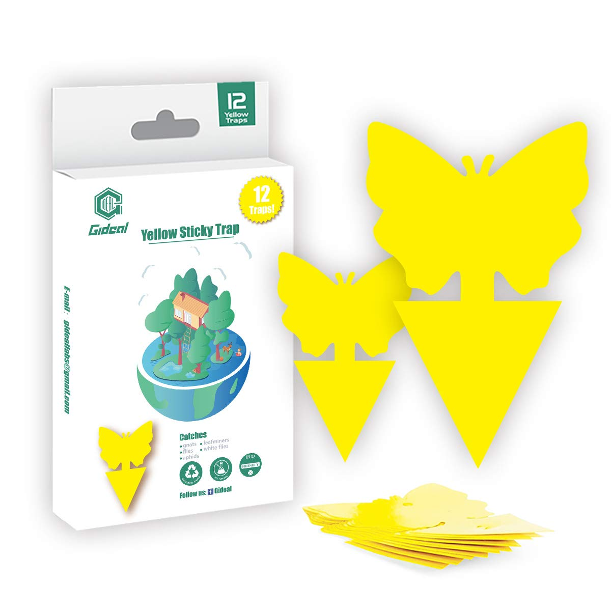 Gideal 12-Pack Dual-Sided Yellow Sticky Traps for Indoor/Outdoor Use, Gnat Trap for Flying Plant Insect Such as Fungus Gnats, Whiteflies, Aphids, Fruit Fly, Leafminers, etc - Garden Butterfly Shape