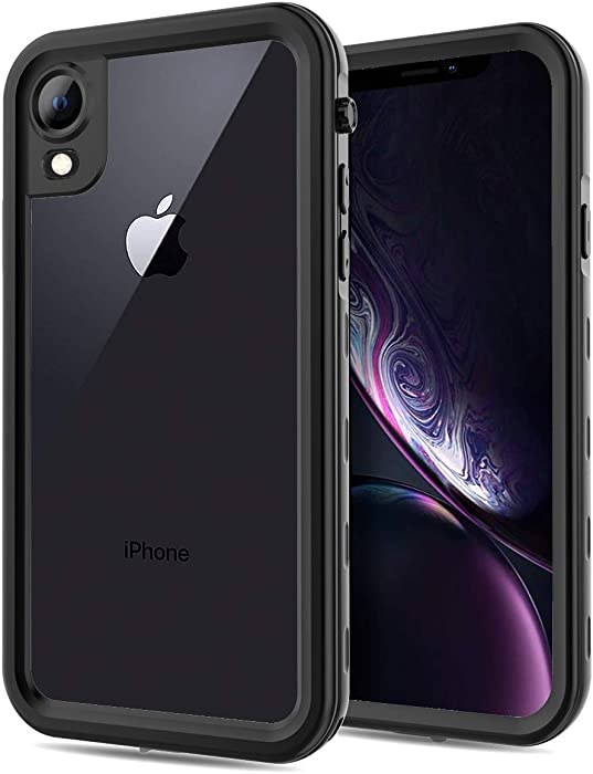 FXXXLTF Apple iPhone XR Case, Full-Body Protective iPhone XR Waterproof Case, Shockproof Snowproof Clear Cover Cases for iPhone XR (6.1 Inch,Black)