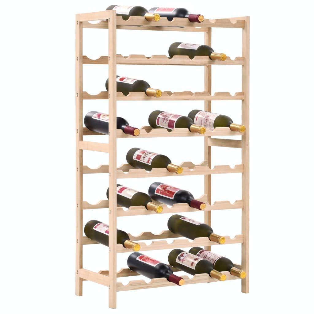 tidyard Wine Rack Cedar Wood Bottles shelf for 48 bottles 57.5x28x102 cm
