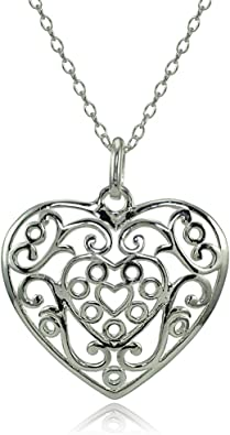 Hoops /& Loops Sterling Silver High Polished Diamond-Cut Filigree Butterfly Pendant Necklace