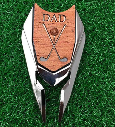 (The Quintessential Hostess DAD Engraved Golf Divot Tool and Ball Marker Mahogany Personalized for Dad Father's Day Gift)