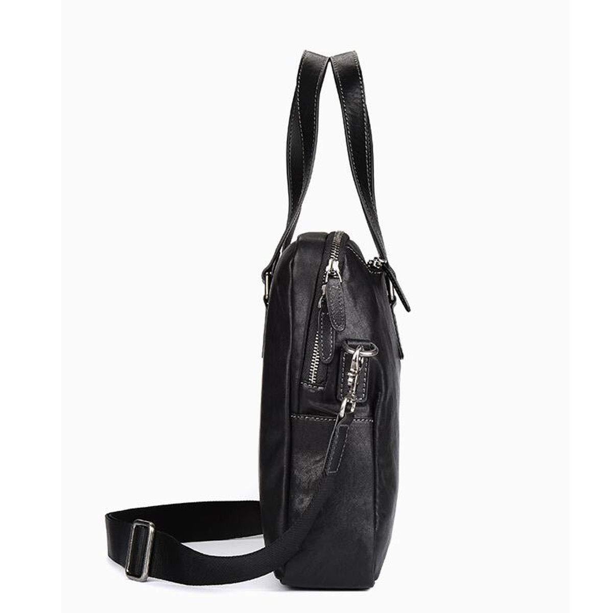 Black /· Size: 38 9 29.5cm Leather Mens Handbag Kuqiqi Briefcase Lightweight Vegetable Tanned Leather Color : Black Business Computer Bag Large-Capacity Backpack