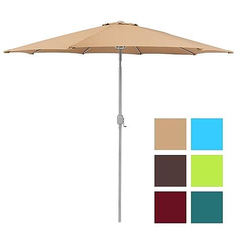 Best Choice Products Patio Umbrella 9ft Aluminum Outdoor Patio Market  Umbrella W/Crank Tilt