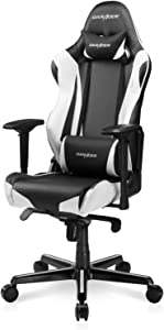 DXRacer Gaming Chair Ergonomic Office Computer High Back E-Sports Seat with 4D Armrest, Adjustment Headrest and Lumbar Support, Racing Series RV001, Small, Black & White