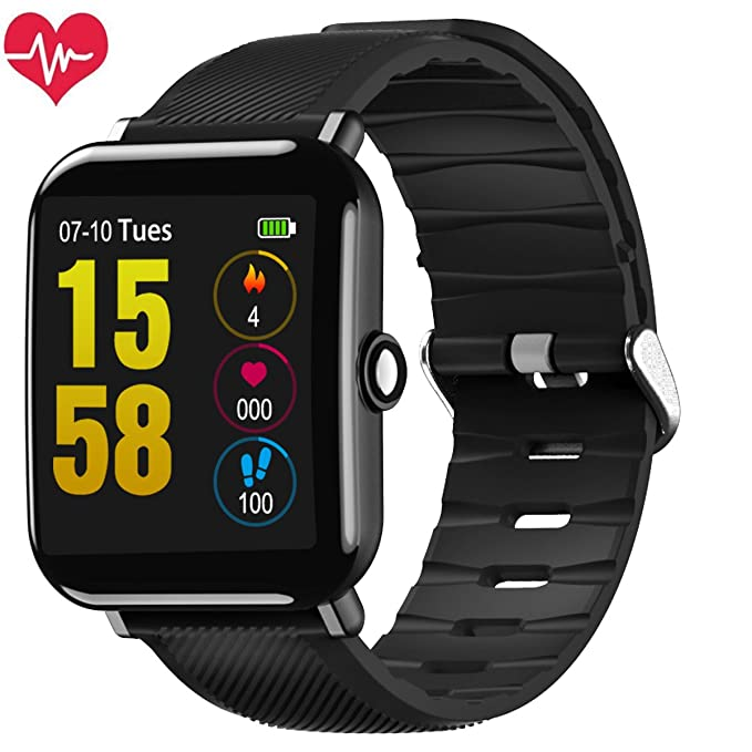 Montre Connectée, OUKITEL W2 Smartwatch Cardiofréquencemètre Etanche IP67 Fitness Tracker dActivité Bracelet Intelligent Podometre Sport Bluetooth Android ...