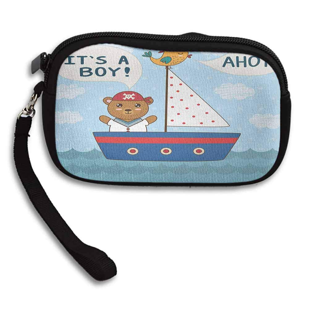 Ahoy Its a Boy Change Purse Wallets Cute Baby Shower Theme Its a Boy in Nautical Style Bear and Bird in Boat W 5.9x L 3.7 Durable Custom Pattern Wallet