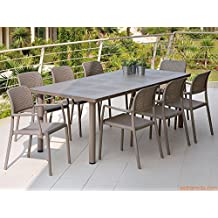 Nardi Libeccio Patio Furniture Dining Set. Table with Bora Armchairs (Beige)