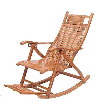 Chaise longue inclinable Chaise en bambou Fauteuil à bascule Avec ...