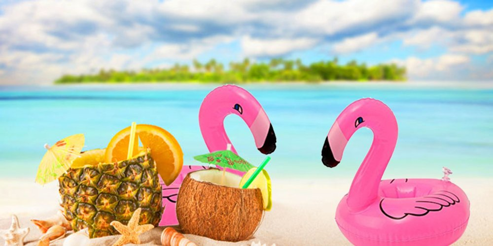 ResPai Inflatable Flamingo Drink Holders Palm Tree Coasters Swimming Pool Toys Float Flamingo Party Supplies Decorations Poolside Accessories with Inflator, 14 in 1