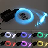 car use dc12v 6w rgb led plastic fiber optic star ceiling kit light