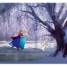 Frozen Window Curtain - Elsa, Anna And Olaf Ice Skating On The Lake (71 x 63 inches)