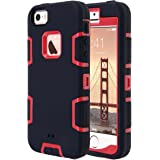 ULAK iPhone 5S Case, iPhone SE Case 3in1 Shockproof Combo Hybrid Hard Rigid PC + Soft Silicone Protective Case Cover for Apple iPhone SE/5S/5 (Red + Black)