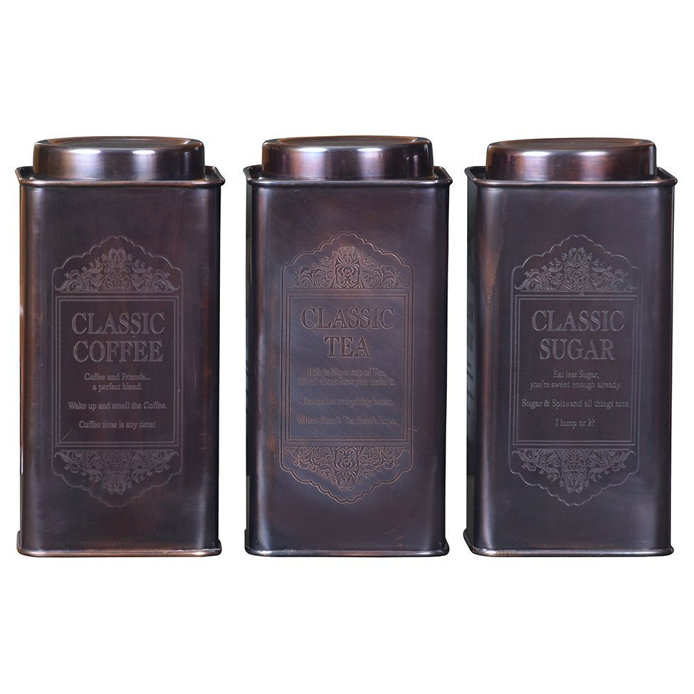 Kosma Set of 3Pc Large Stainless Steel Tea Sugar Coffee Canister   Kitchen Storage Tin Jars - Classic - Copper Antique Finish : Size: 10cm x 19.5cm