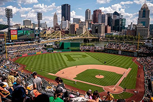 LAMINATED 36x24 inches POSTER: Action Athletes Audience Ballpark Baseball City Cityscape Crowd Fans Field Game Grandstand Group Outfit Pattern People Players Pnc Park Shapes Spectators Sport