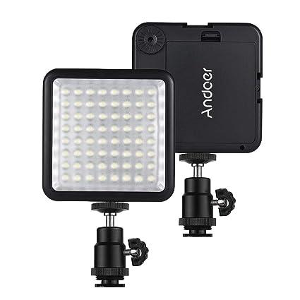 Andoer WY-64 - Mini luz LED de vídeo ultrabrillante de 8 W ...