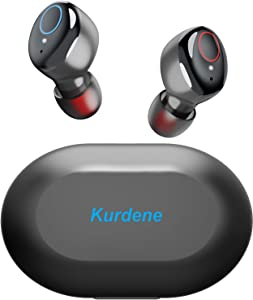 Kurdene Small Wireless Earbuds,Bluetooth Earbuds with Charging Case Bass Sounds IPX8 Waterproof Sports Headphones with Mic Touch Control 24H Playtime for iPhone/Samsung/Android-Black