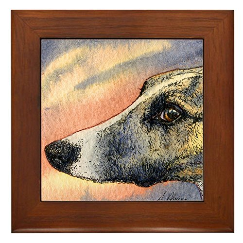 CafePress - Brindle Whippet Greyhound Dog - Framed Tile, Decorative Tile Wall Hanging