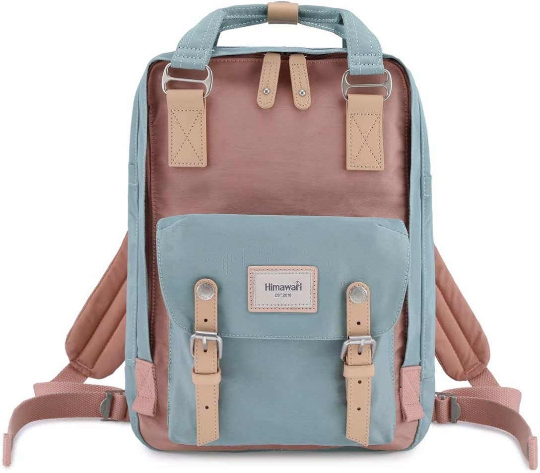 "Himawari School Functional Travel Waterproof Backpack Bag for Men & Women | 14.9""x11.1""x5.9"" | Holds 13-in Laptop (Pink&Blue)"