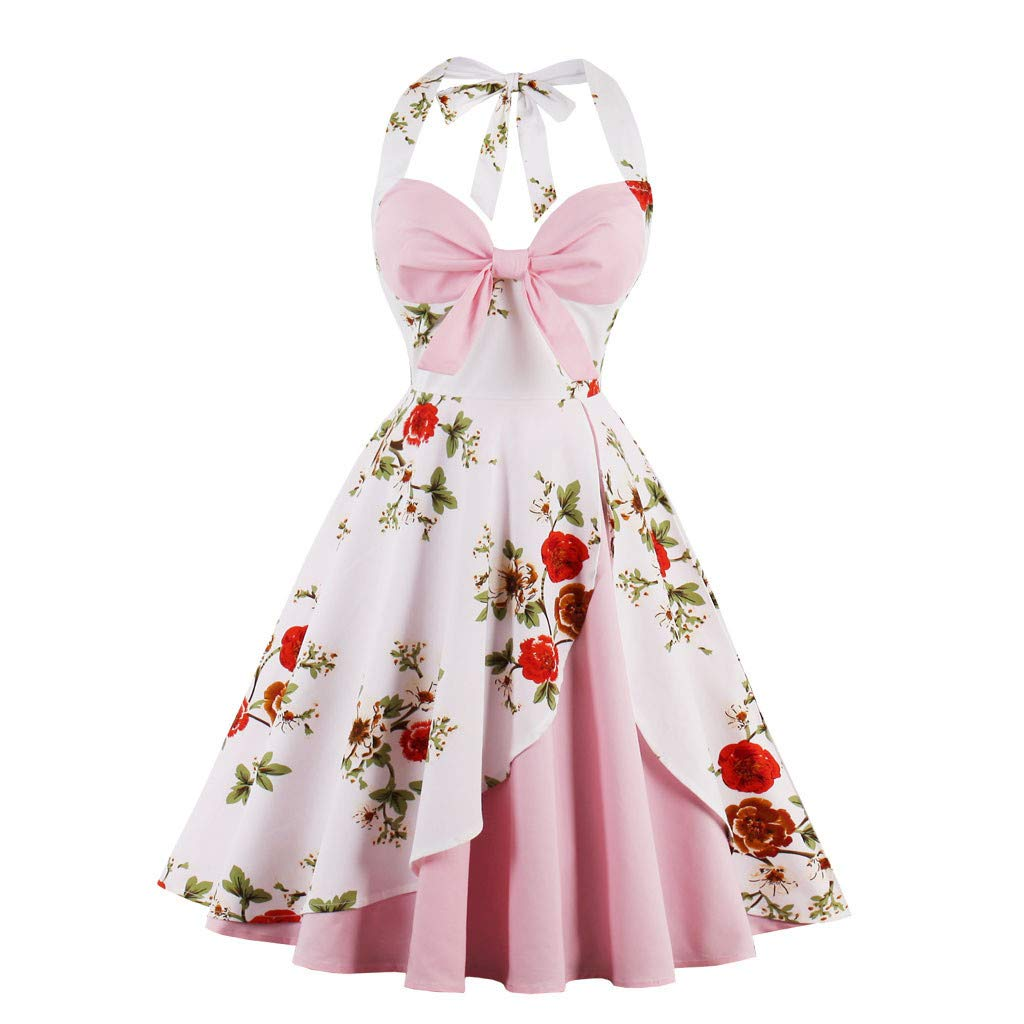 Nmch Women's Plus Size Vintage Dress Cute Halter Floral Audrey Hepburn Bowknot Tea Dresses 1950s Retro Cocktail Dress(Pink,XL)