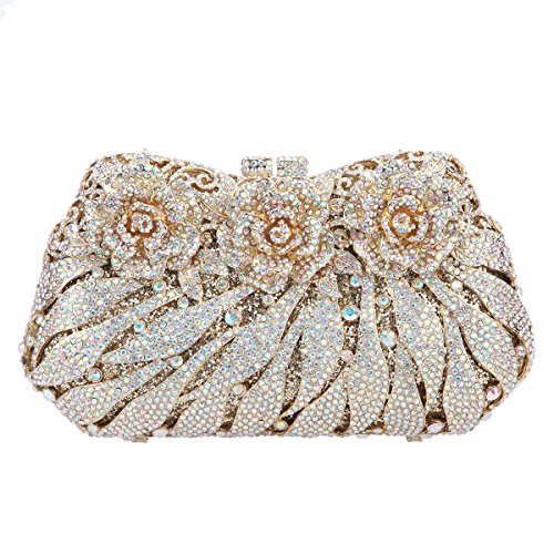 Bonjanvye Gold Glitter Clutches For Party Flower Ab Wedding And Studded rrqTzxwR