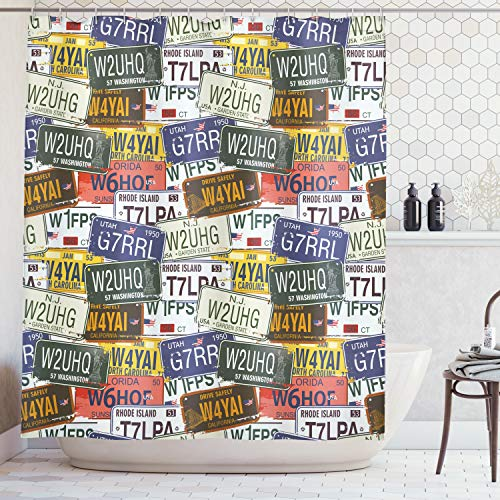 Ambesonne USA Shower Curtain, Retro American Auto License Plates Utah Washington Rhode Island North Carolina Print, Fabric Bathroom Decor Set with Hooks, 70 Inches, Multicolor