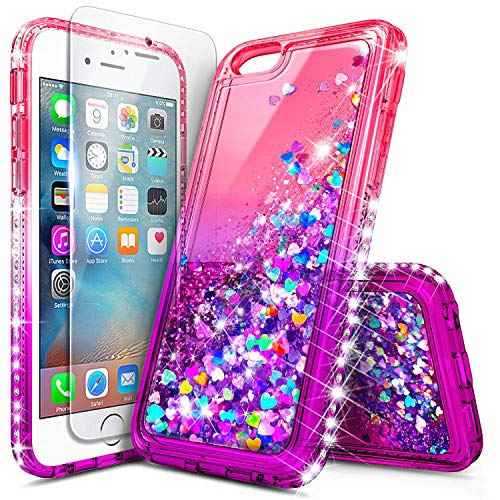 iPhone 6S Plus Case, iPhone 6 Plus Glitter Case with Tempered Glass Screen Protector for Girls Women, NageBee Bling Floating Liquid Waterfall Sparkle Shockproof Durable Cute Case -Pink/Purple (Colorful Iphone 6plus Cases)