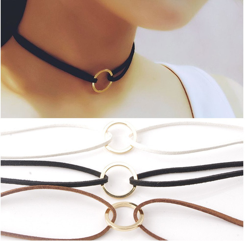 Gbell Clearance! Girls Simple Hippy Leather Circle Neck Choker Necklace Charms - Women Lady Black Choker Necklace Vintage,Brown White,Ideal for Party Costume