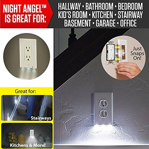 Kanzd Plug Cover LED Night Angel Wall Outlet Face Hallway Bedroom Bathroom Safty Light (Plug In And Outlet Halloween Costume)