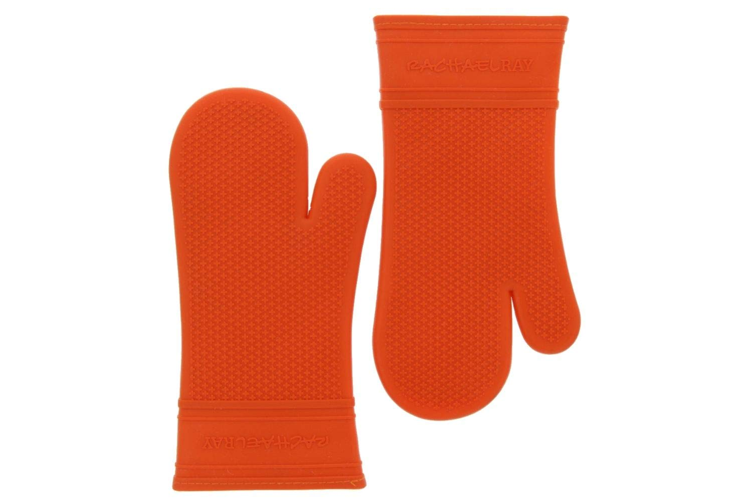 Rachael Ray Silicone Oven Mitts, 2pk -Heat Resistant Silicone Oven Gloves to Safely Handle Hot Cookware Items-Flexible, Waterproof Silicone Gloves with Non-Slip Grip and Insulated Pockets-Burnt Orange