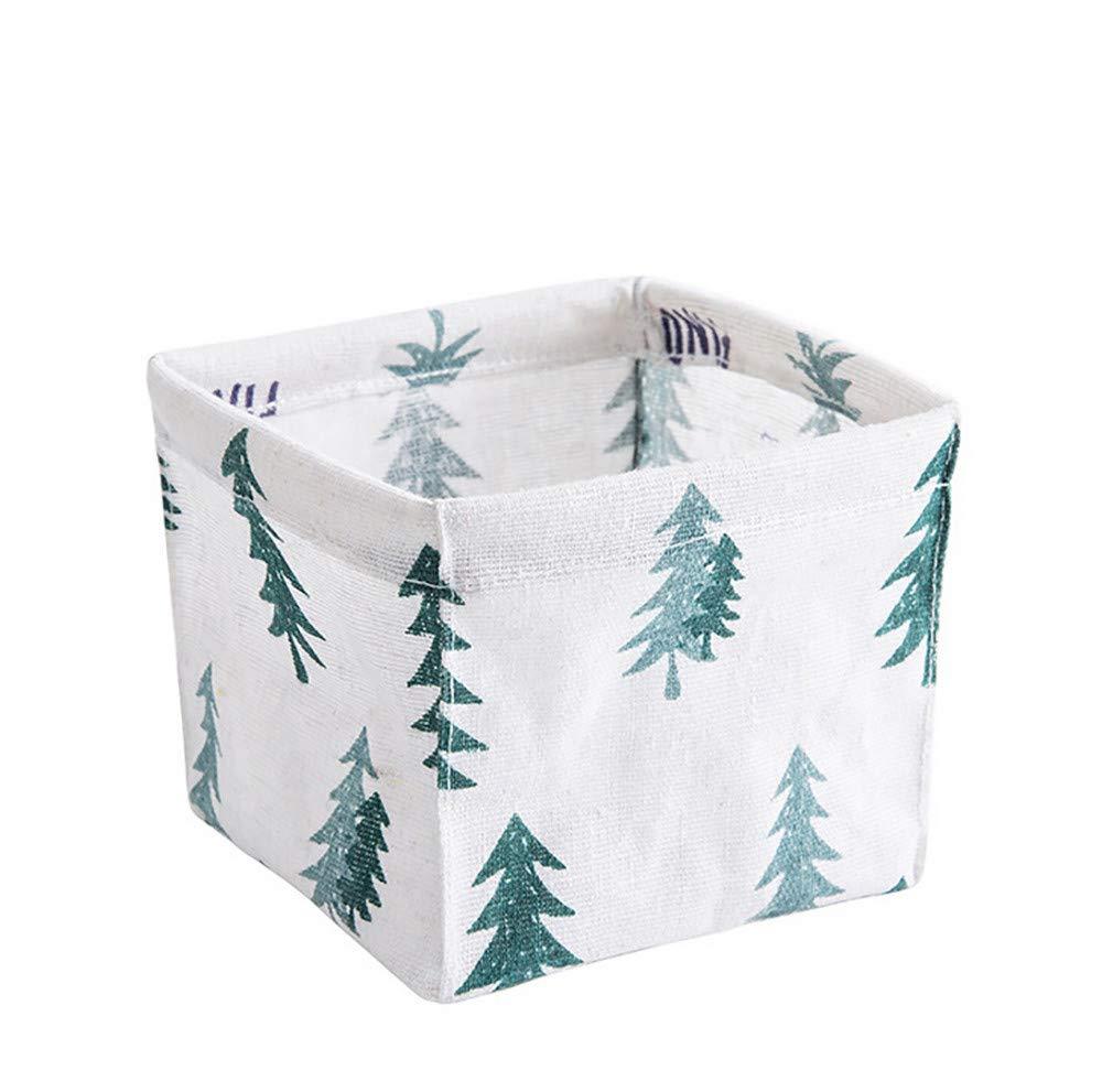 ♚Rendodon♚ Cotton Linen Table top Storage Basket, House Storage Tool, Storage Bin Closet Toy Box Container Organizer Fabric Basket (Green)